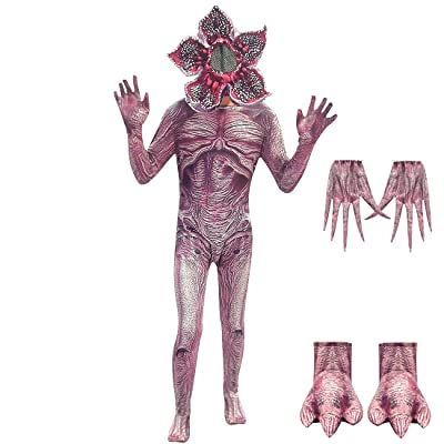 Kids Demogorgon Costumes Halloween Zentai Dress Up Jumpsuit Bodysuit Horror Cannibal Flower Cosplay Party Full Set: Clothing