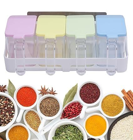 Juego de 6 tarros para especias caja para salsas recipiente para alimentos recipientes de plástico Tarros