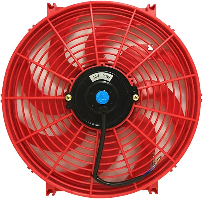 Upgr8 Universal High Performance 12V Slim Straight Blades Electric Cooling Radiator Fan With Fan Mounting Kit (14 Inch, Red)
