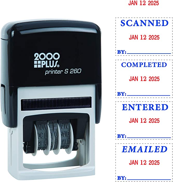 """2000 PLUS 4-in-1 Self-Inking E-Message Date Stamp, 1-78"""" x 3/16"""" Impression, Blue and Red Ink (011098)"""