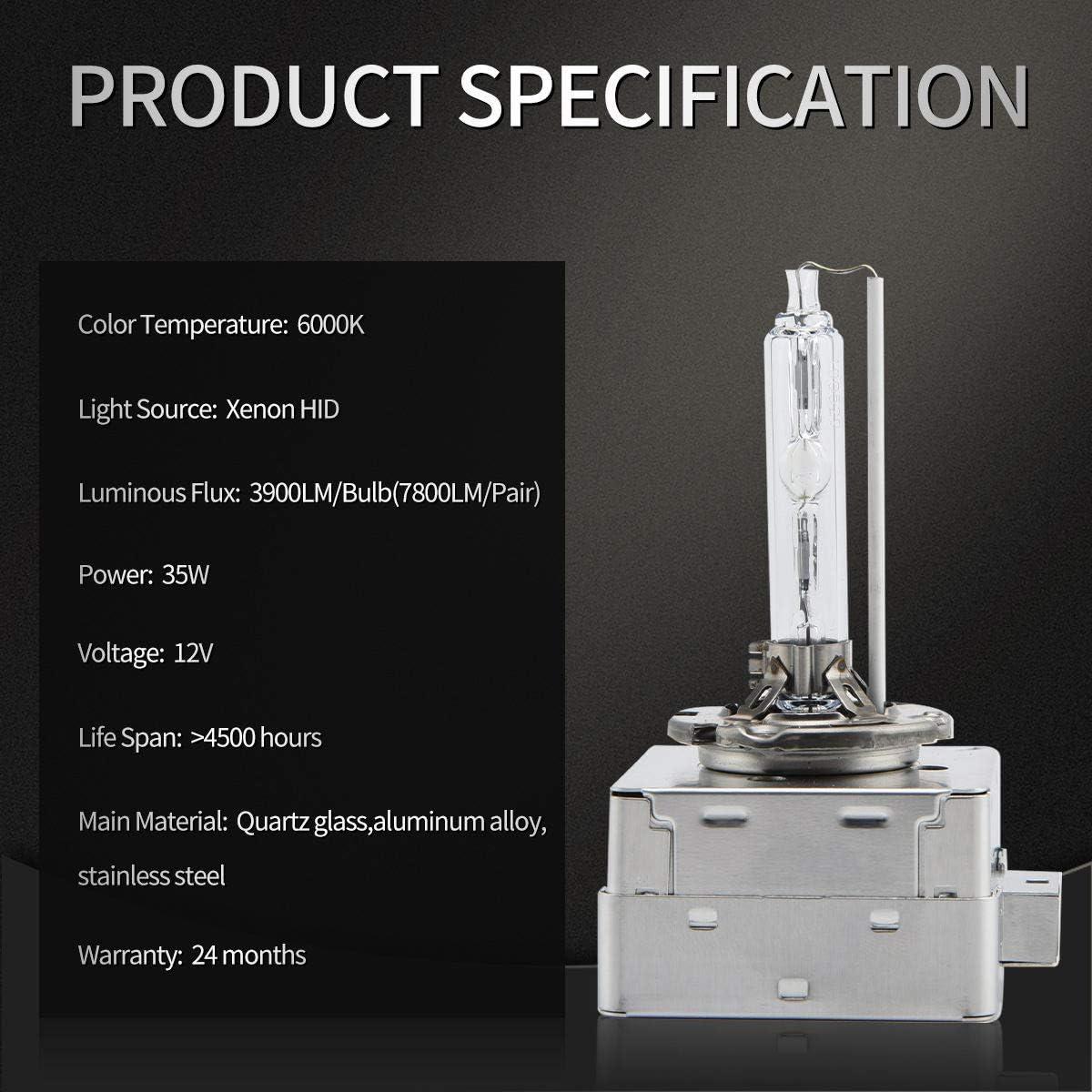 HID original car xenon lamp conversion kit D1S//D2S//D2R//D3S//D4S//D4R highlight fast start xenon lamp D2S, 6000K