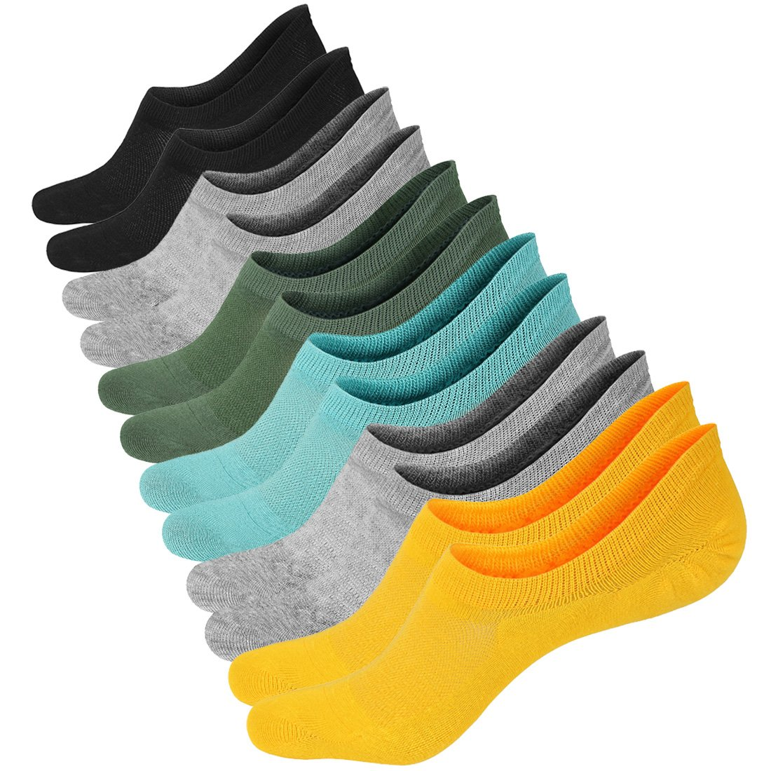 No Show Liner Socks Women - Cotton Low Cut Socks Bright Casual Non Slip Colored 6 Pack