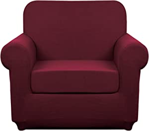 Granbest Stretch Sofa Slipcovers 3 Cushion Couch Covers Water-Repellent Pet Furniture Covers Dog Couch Protectors (Wine Red, Small-2 Pieces)