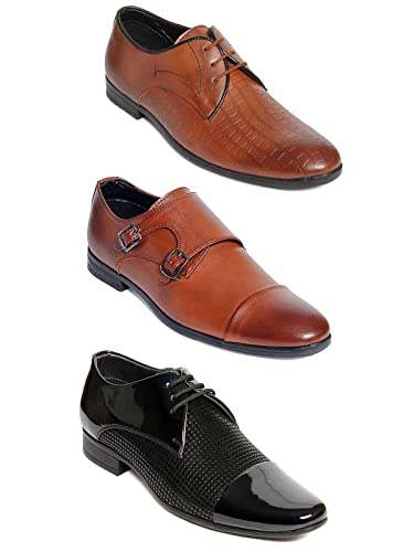 Bacca Bucci Men's Brown Synthetic Combo Of 3 Formal Shoes- 10 Uk