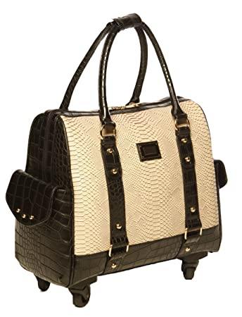 c55a1ee3b55 Cream Python   Black Alligator iPad Tablet or Laptop Tote Carryall or  Spinner Rolling Briefcase