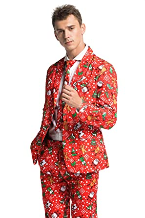 a81e8becfd962 Men s Ugly Christmas Suit Funny Bear Party Costumes - Gingerbear Rocks