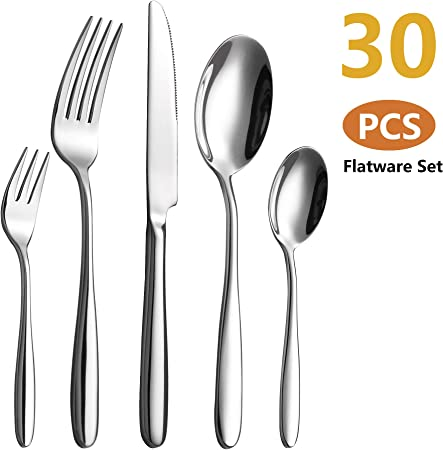 24-tlg Acier inoxydable Couverts Set fourchette couteau cuillère de table Couverts Lot de couverts 6 personnes.