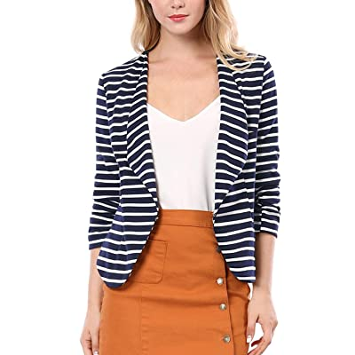 Allegra K Women's Work Office Business Notched Lapel 3/4 Sleeves Casual Striped Blazer at Amazon Women's Clothing store