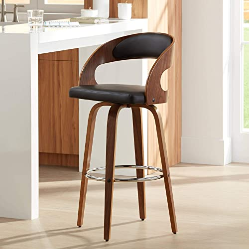 Shelly Modern 30 Brown Faux Leather Swivel Bar Stool