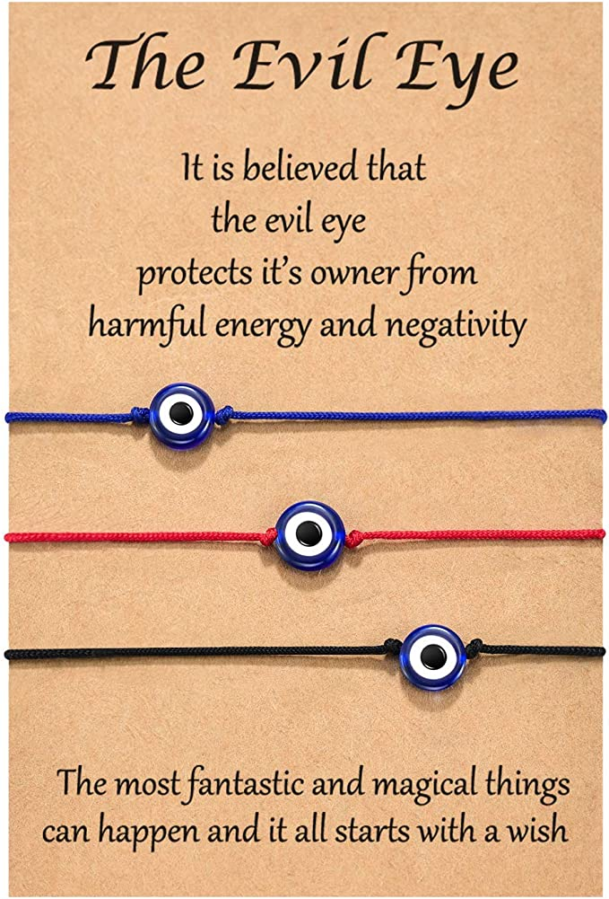 Shonyin Handmade Evil Eye Bracelets Set with Card Red String Bracelet Kabbalah Protection Luck Amulet for Women Men Family Friends