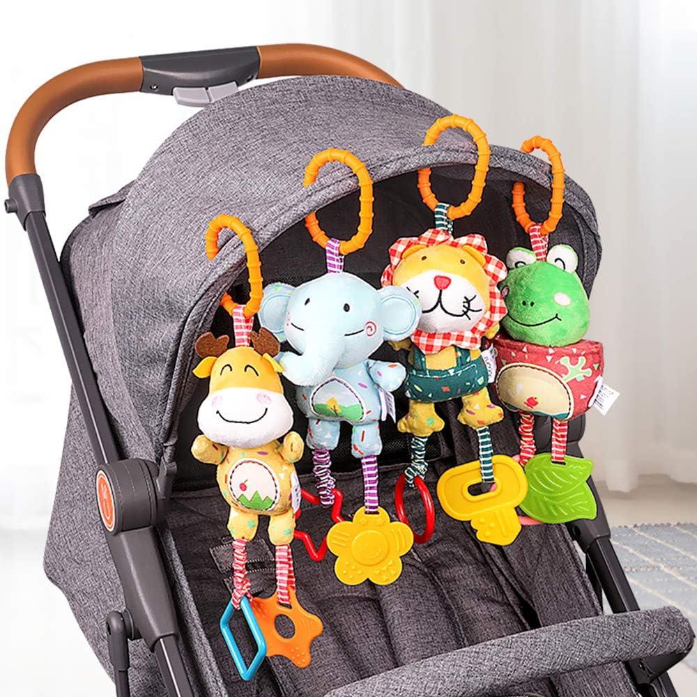 CestMall Baby Kinderwagen Spielzeug 4 Pcs Pl/üschtier mit Gl/öckchen Wiege oder Autositz Rassel-Figuren zum Aufh/ängen f/ür Bettchen Lernspielzeug f/ür Neugeborene und Kleinkinder