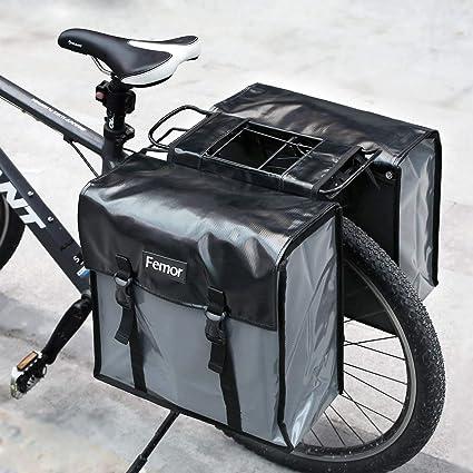 Bolsa trasera Femor para bicicleta, portaequipajes con correa para el hombro y funda de protección, color negro