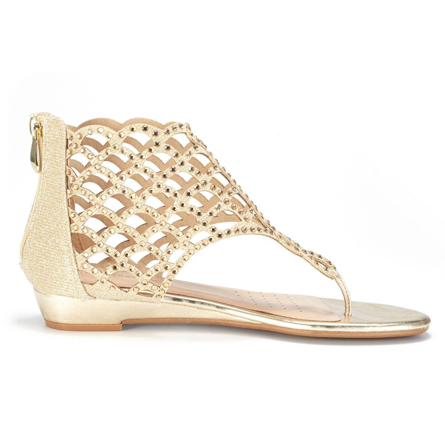 8160ab253 DREAM PAIRS Women s Jewel Rhinestones Design Ankle High Flat Sandals larger  image