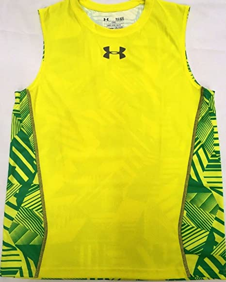 868dcf24464be Under Armour Boy s Loose Fit sleeveless tank top T-Shirt (Yellow Green