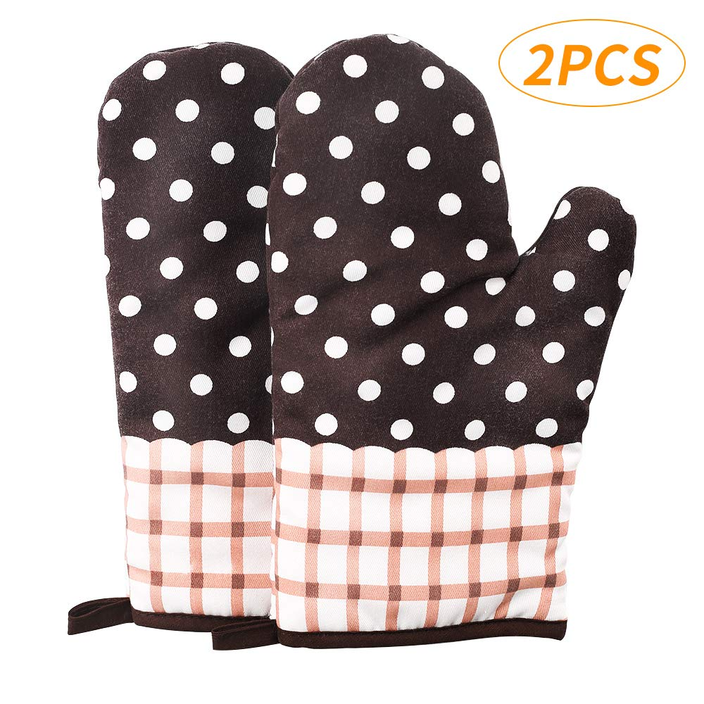 YU HOME 2PCS Heat Resistant Oven Mitts, Pot Holders Non-Slip Washable Cotton Oven Gloves with Hanging Loop, Professional BBQ Potholders for Microwave Oven, Cooking, Baking and Grilling, Brown