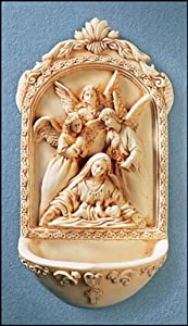 Catholic Holy Water Font with St. Mary Surrounded by Angels- . Great for Entrance of Home or Wedding Gift.