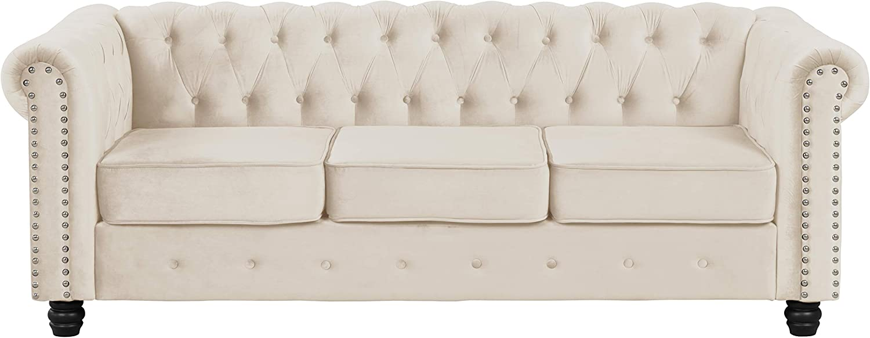 Morden Fort Couches for Living Room, Sofas for Living Room Furniture Sets, Sofa, Fabric, Velvet Beige