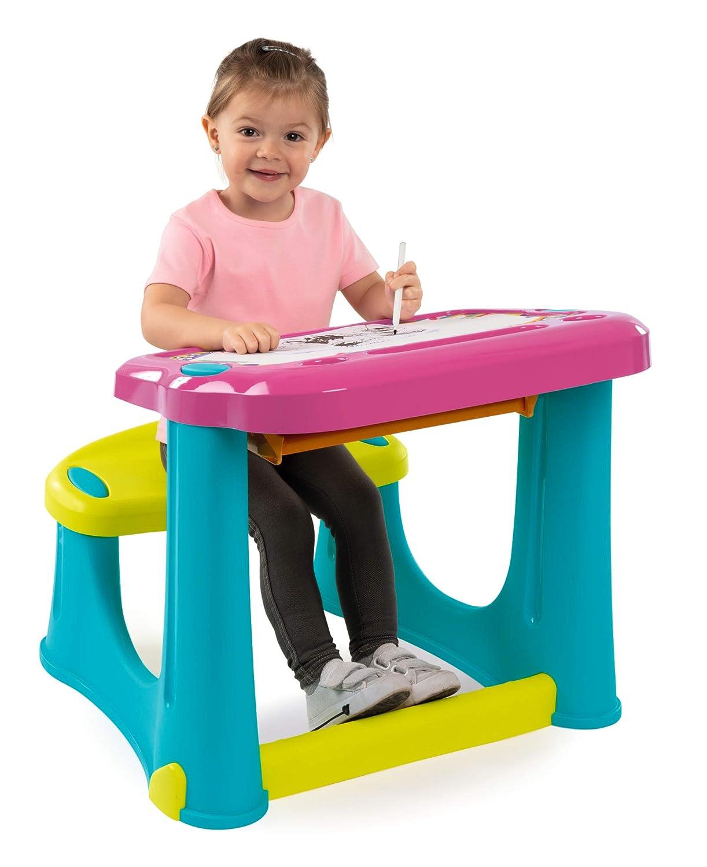 color rosa Escritorio infantil con asiento y caj/ón de pl/ástico para ni/ños a partir de 2 a/ños Smoby 420219 Magic Pink