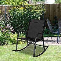 Garden Rocking Chair Rocker Relaxing Chairs Metal Textilene Fabric-Black