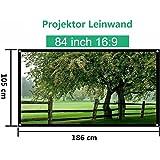 Mileagea Écran de Projection 84 Pouches 185x104cm seulement 1,4kg pour HD / 3D Film