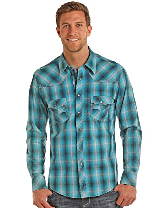93bdba316fd2d Rock   Roll Cowboy Men s and Turquoise Ombre Plaid Shirt at Amazon Men s  Clothing store