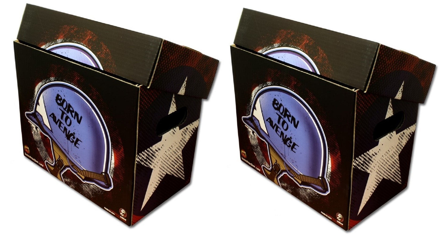 (2) BIA - CAPTAIN AMERICA Style Art SHORT COMIC Storage Box BORN to AVENGE