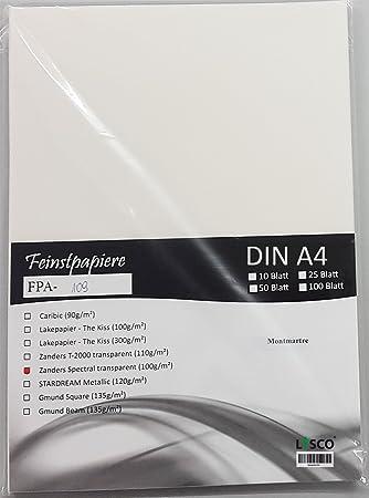 100 Blatt DIN A4 Transparentpapier Zanders Spectral Montmartre Linienmuster