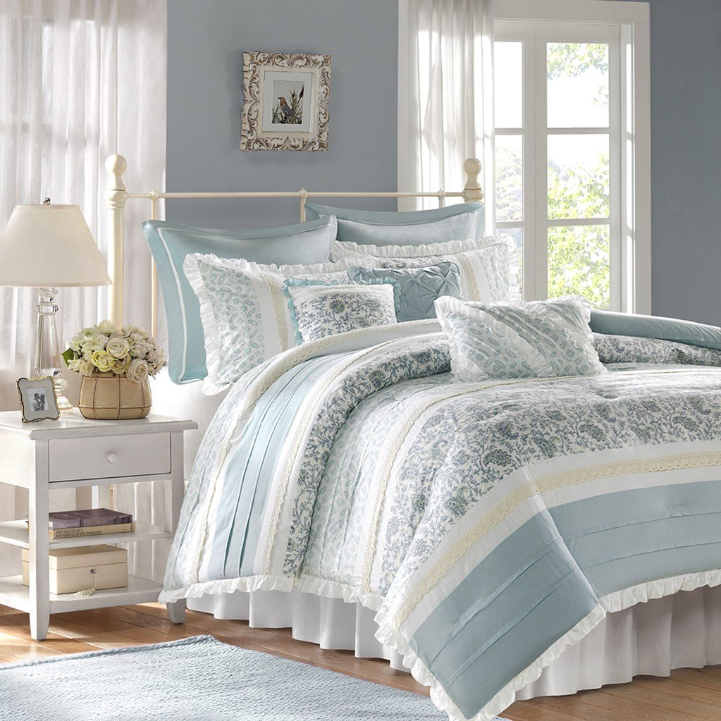 Madison Park MP10-387 Dawn 9Piece Comforter Set King , Blue , King,Blue,King