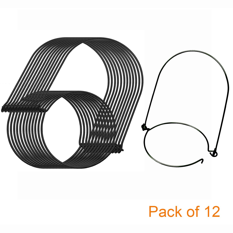 Mason Jar Hanger, 12 Pack Black Stainless Steel Wire Handles(Handle-Ease) for Regular Mouth Mason Jar, Ball Pint Jar, Canning Jars, Best Jar Holder Hooks Hanging Handle, Set of 12, Black