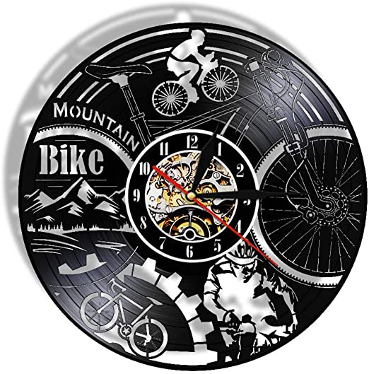 LTOOD Reloj de pared de vinilo para bicicleta de montaña, ciclismo ...