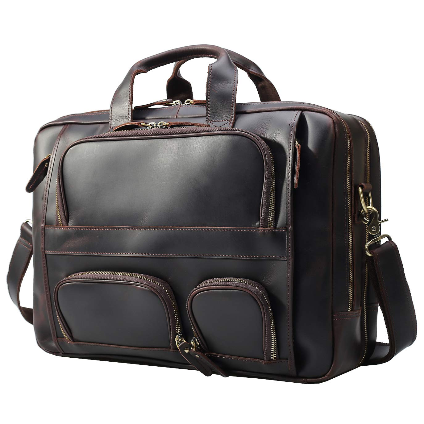 Texbo Men's Solid Top Cowhide Leather Large 17.3 Inch Laptop Briefcase Messenger Bag Tote Fit Business Trip