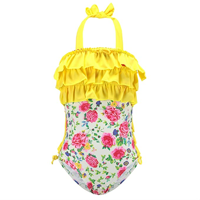 a5a59eae0f04a HowJoJo Girls One Piece Swimsuits Ruffle Swimwear Floral Beach Bathing Suit  Yellow 3T