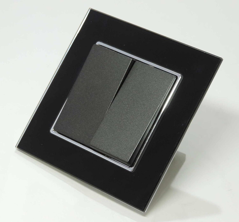Glas Serienschalter 1fach Floh schwarz mit Glas Rahmen Edles Design ...