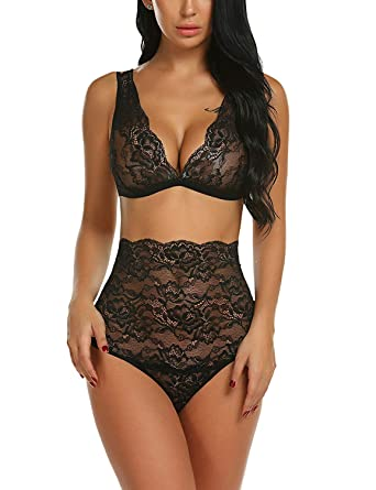 6031a601e3 Lace Lingerie High Waist Bra and Panty Set Strappy Babydoll Bodysuit Womens( Black