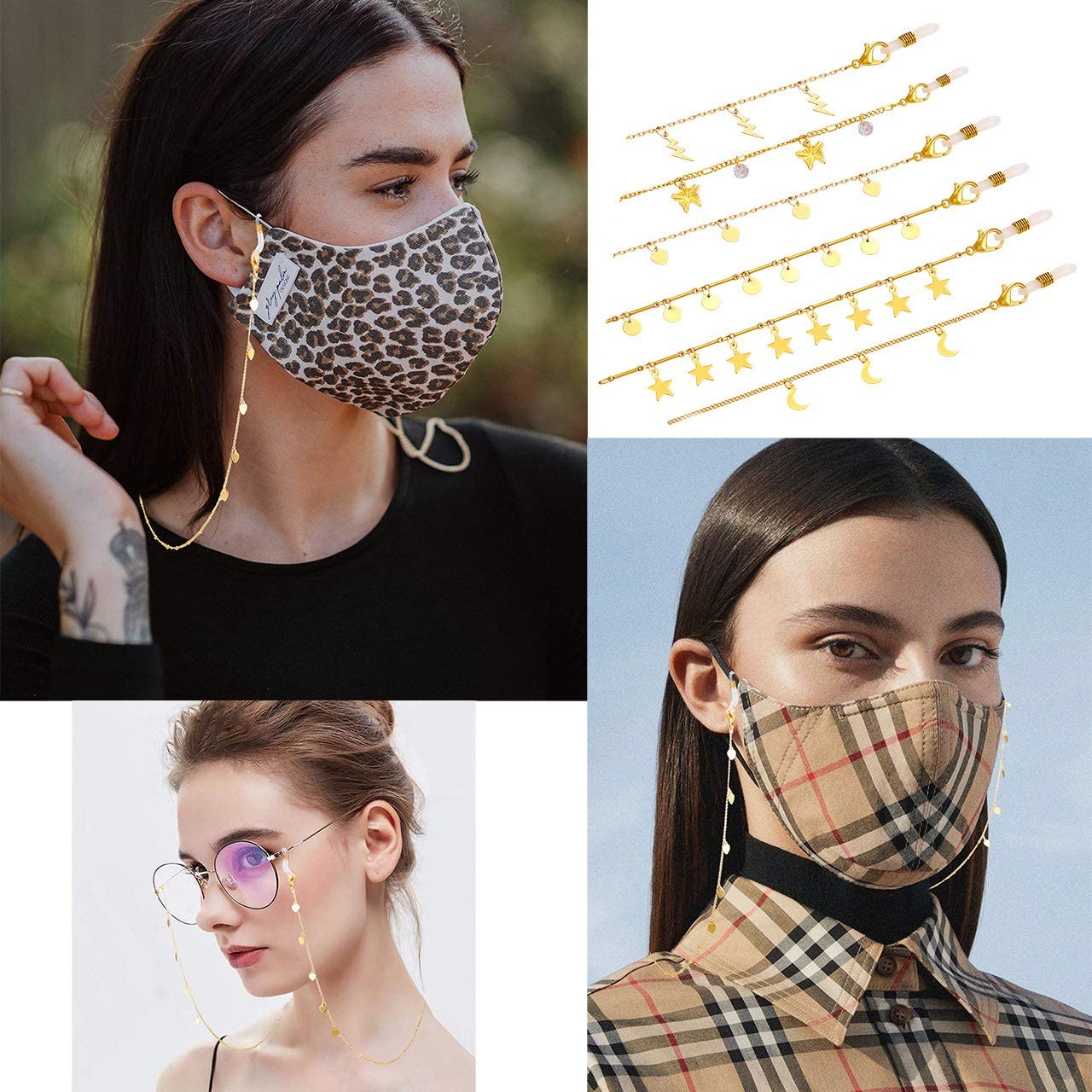6 PCS Face Mask Chain Holder Glasses Chain Lanyard for Women Girls Gold Moon Star Charm Sunglass Set Anti-Lost Eyeglass Mask Retainer Hanger Keeper Accessory Around Neck