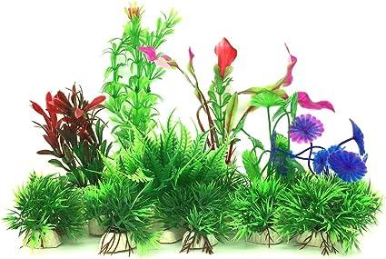 Sourcingmap Plastic Fish Tank Ceramic Base Plant//Grass Hot Pink//Green