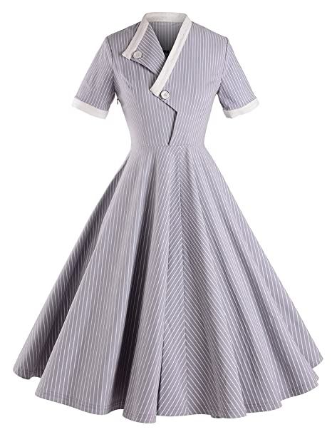 Rockabilly Dresses | Rockabilly Clothing | Viva Las Vegas GownTown Striped Short Sleeve Dresses Swing Stretchy Dresses $38.98 AT vintagedancer.com