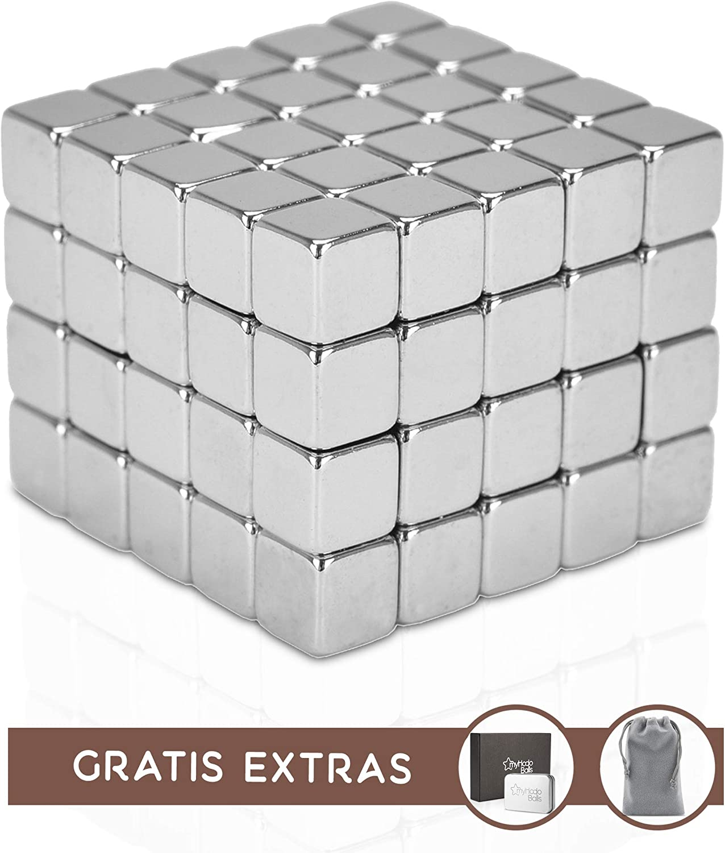 myHodo Cubos Magnéticos Antiestrés Premium con Extras Gratuitos, 100 Imanes Pequeños Extra Fuertes de 5mm, Idea de Regalo con Tecnología, Cubos Magnéticos para Superficies Magnéticas y Nevera