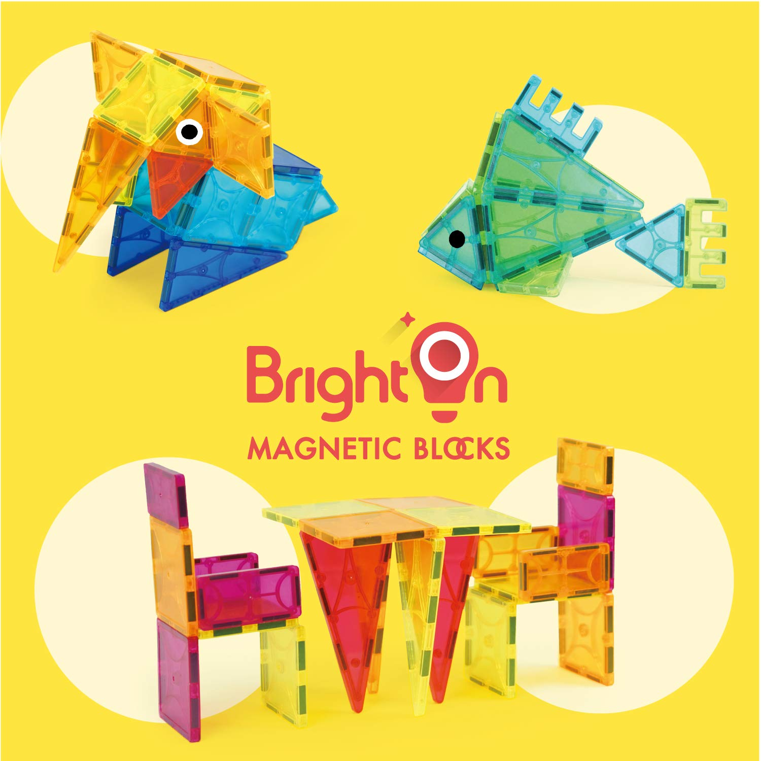 BrightOn Educational Kids Toys Magnetic Building Blocks, Creative Toys 3D Magnetic Blocks for Kids, Imagination Magnets Building Tiles for Children 105Pcs by BrightOn (Image #5)