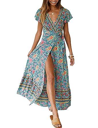 66199208a4 MEROKEETY Women s Summer Boho Floral Print Wrap V Neck Short Sleeves Split  Beach Party Maxi Dress