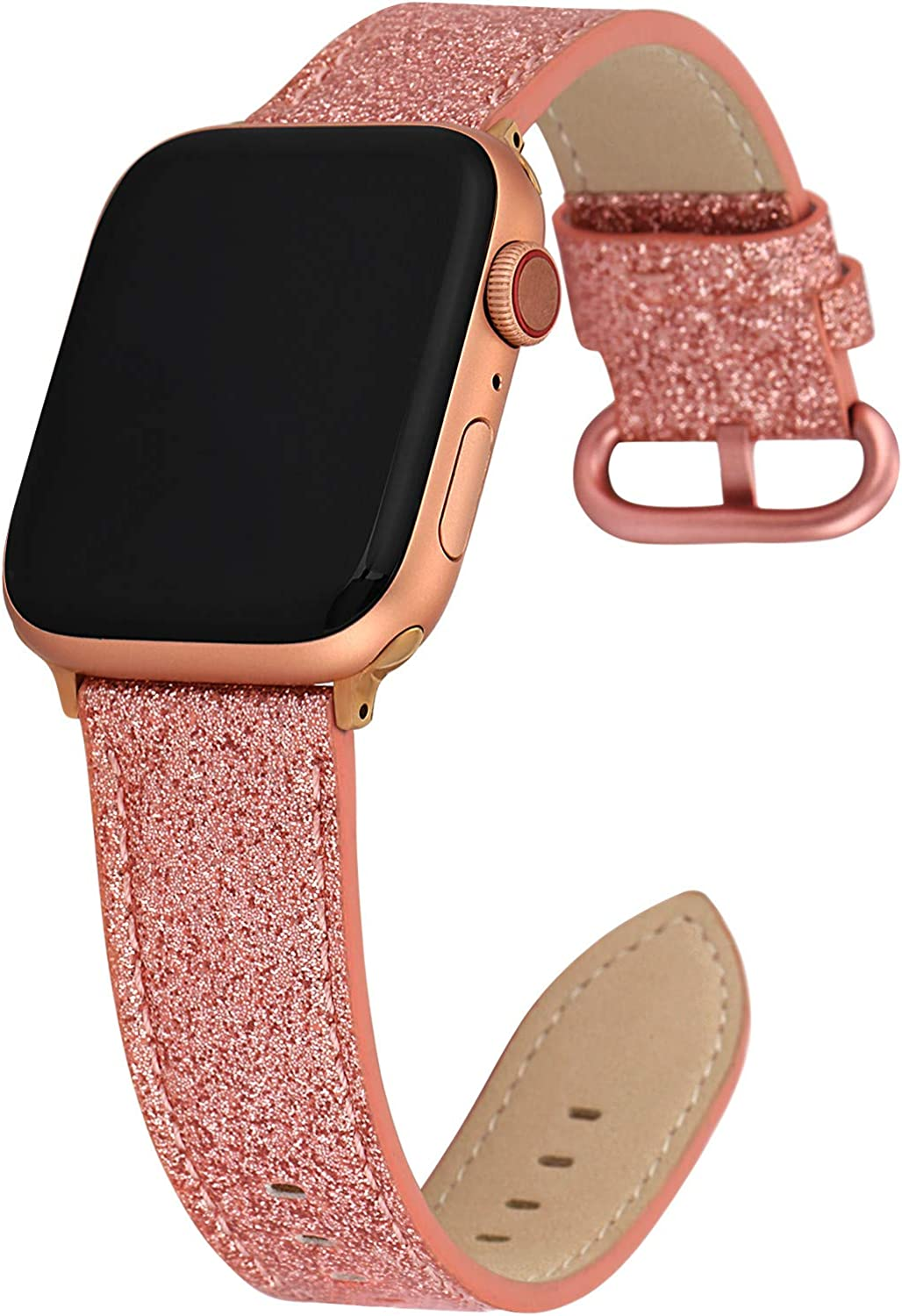 Greaciary Glitter Leather Band Compatible with Apple Watch Band,Shiny Bling Elegant Genuine Leather Strap Compatible for iWatch Series 5/4/3/2/1,Sport Edition Women Girl