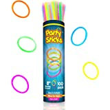 PartySticks Glow Sticks Bulk Party Favors 100pk with Connectors - 8 Inch Glow in the Dark Party Supplies, Neon Party…