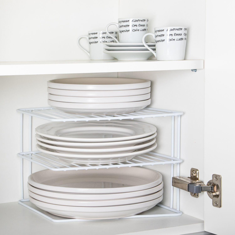 INDIAN DECOR. Kitchen Corner Shelf Plate Storage Organiser Rack (White)