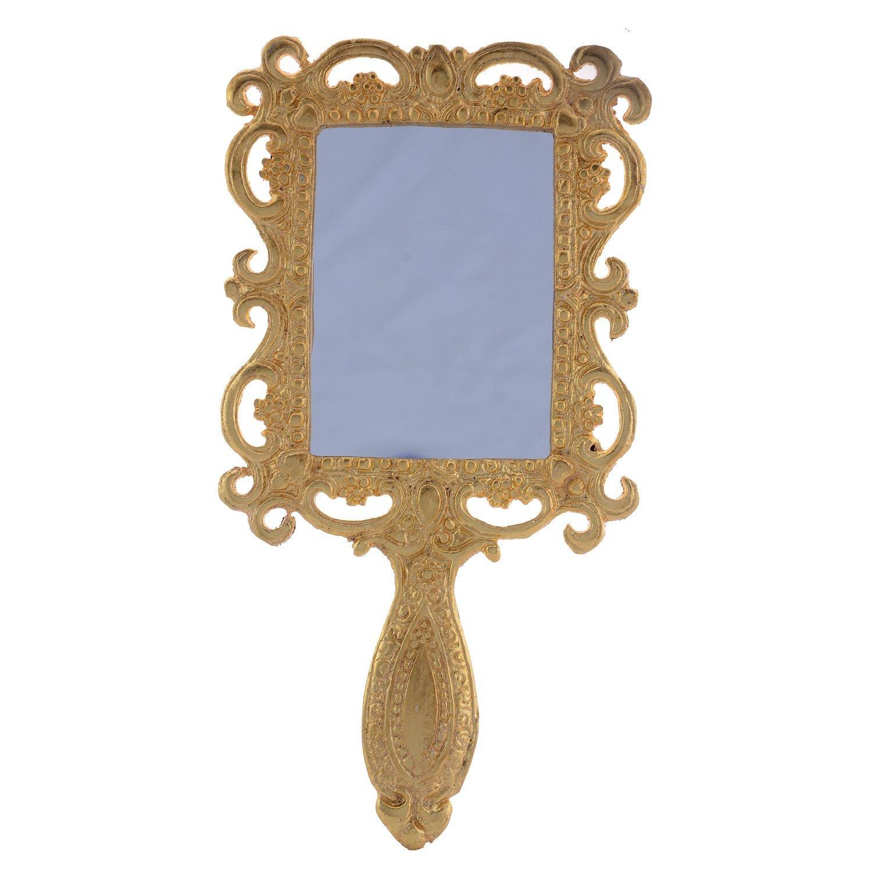 JaipurCrafts Rajasthani Hand Mirror Vanity Mirror Make-Up Kit Antique Mirror- Gold/Handheld Vanity Makeup Mirror, Vintage Cosmetic Mirror Plastic Makeup Mirror Gift Cute Girl Hand Make Up Tanish enterprises JaipurCrafts02273