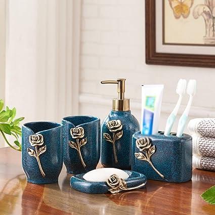 Resina de moda vintage serie tallada Juego de baño 5 piezas botella de loción Cepillo de