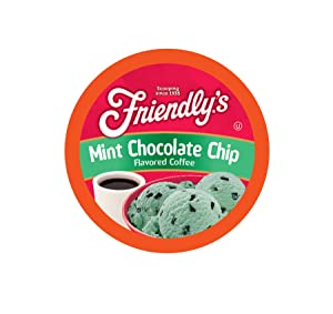 Friendly's Chocolate Mint Flavored Coffee Pods for Keurig K Cup Brewers, Mint Chocolate Chip, 40 Count