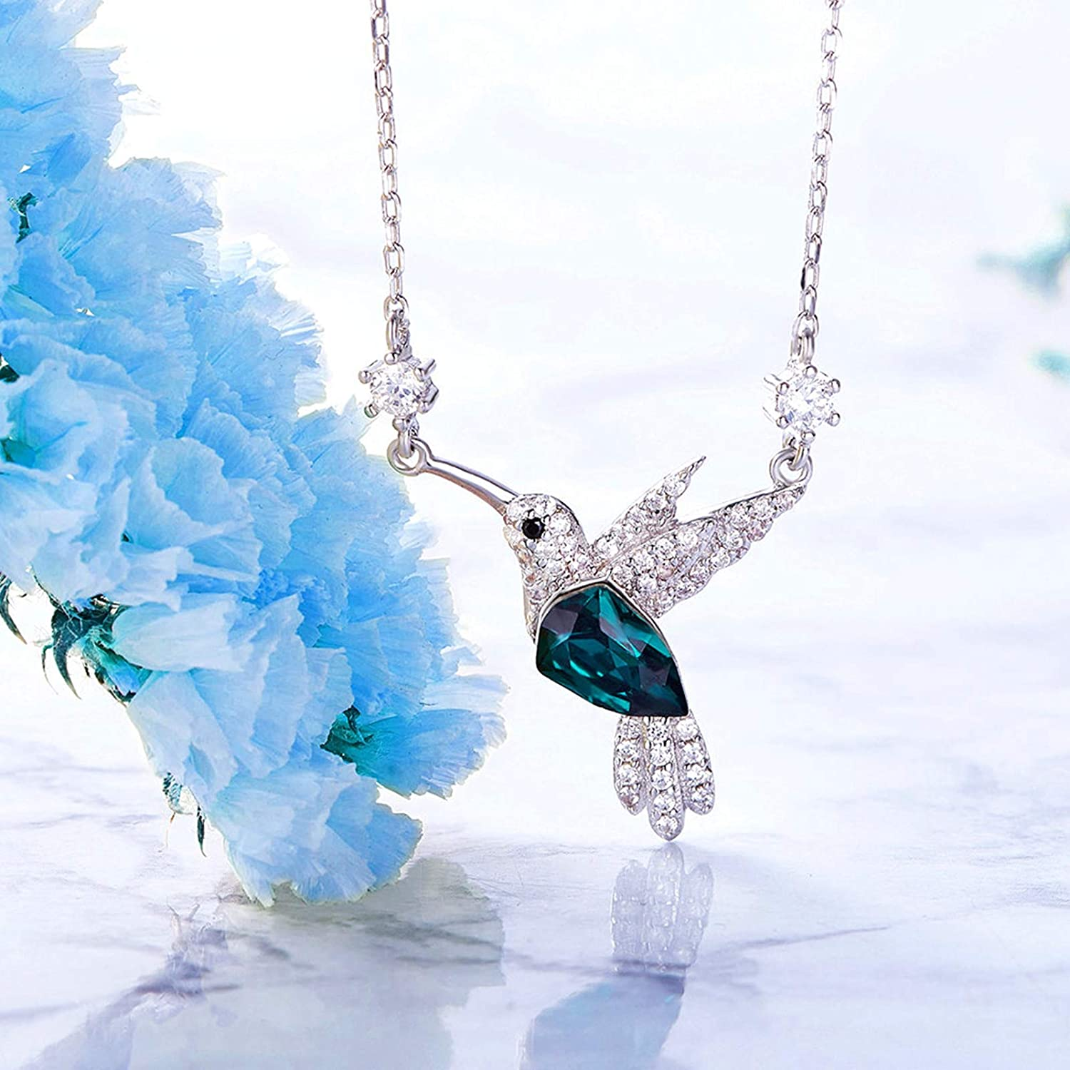 ANAZOZ S925 Sterling Silver Lovebirds Pendant Necklace with Green Crystal