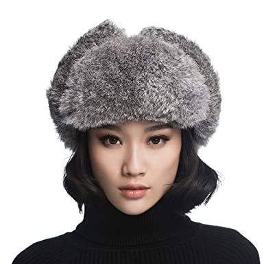 e426d1e9238 URSFUR Unisex Winter Trooper Hat Real Rabbit Fur Russian Aviator Ushanka  Trapper Mask Black  Amazon.co.uk  Clothing