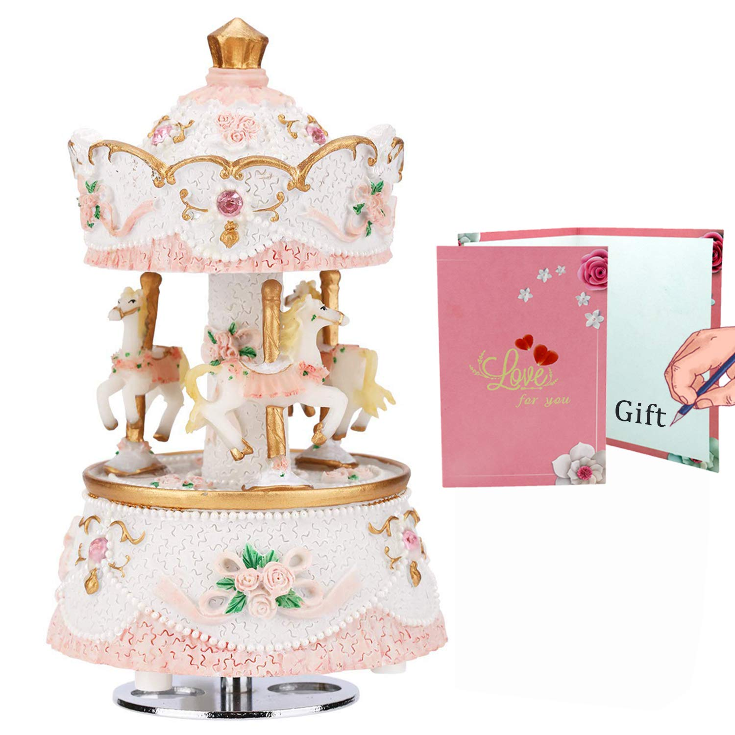 LOVE FOR YOU Music Box for Carousel,3-Horse Merchandise Classic Clockworek Musical Box Best Birthday Gift for Kids,Girls,Friends(Melody Castle in The Sky,Pink-White) by LOVE FOR YOU
