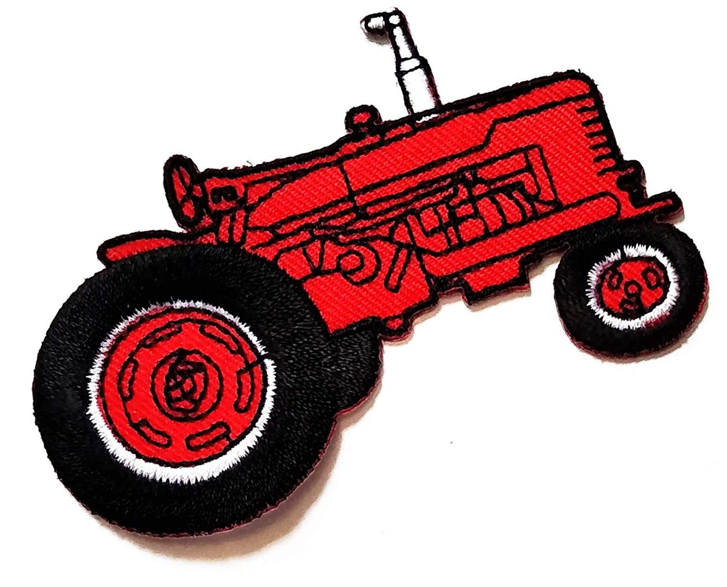 3.4'' X 2.4'' Red Car No roof Tractor Farm Tractor Cartoon Kids Logo Jacket t-Shirt Jeans Polo Patch Iron on Embroidered Logo Sign Badge Comics Cartoon Patch by Tour les jours Shop